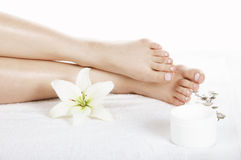 Feet. Two woman feet in spa Stock Image