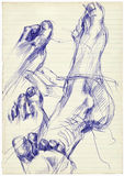 Feet. Hand drawing pictures - feet / sole Royalty Free Stock Photo