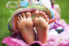 Feet. Relaxing outdoor at summer stock photography
