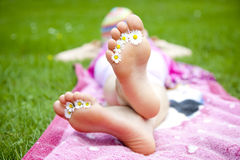 Feet. Relaxing outdoor at summer stock image