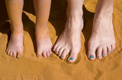 Feet. Of mum and daughter in the sand Stock Photography