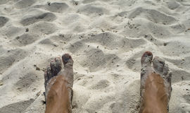 Feet. In the varm sand royalty free stock photography