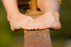Feet. Kids feet with beauty spot Royalty Free Stock Photos