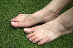 Feet. Pair of feet on grass Royalty Free Stock Image