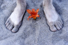 Feet. On the sand Royalty Free Stock Image