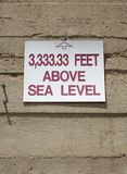 3,333.33 feet above sea level. Sign in Kingman, Arizona, 3,333.33 feet above sea level stock photography