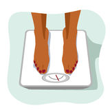 Feet of african american woman standing on weight scale. Concept of weight loss. Stock Photo