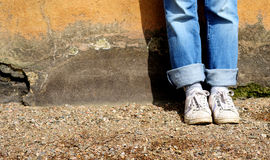 Feet against the wall Royalty Free Stock Photos