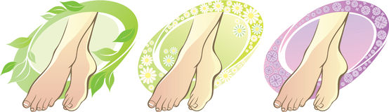 Feet aromatherapy. Variations of female feet aromatherapy concept Royalty Free Stock Photo