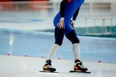 Feet athlete skater. On ice sport arena Royalty Free Stock Image