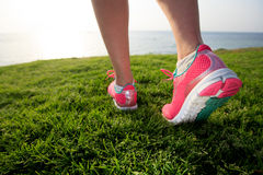 Feet of an athlete training for fitness and healthy lifestyle in Stock Images