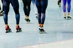 Feet athletes speed skaters Royalty Free Stock Image