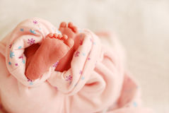 Feet of baby girl newborn Stock Photos