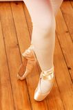 Feet of ballerina. Close up shot of feet of ballerina royalty free stock photos