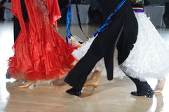 Feet of ballroom dancers. On the dance floor during competition Stock Images