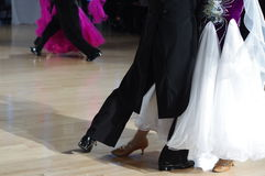 Feet of ballroom dancers. On the dance floor during competition Stock Photography