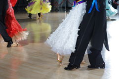 Feet of ballroom dancers. On the dance floor during competition Royalty Free Stock Image