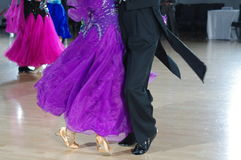 Feet of ballroom dancers. On the dance floor during competition Stock Photos