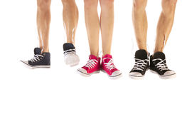 Feet in basketball shoes Royalty Free Stock Photos