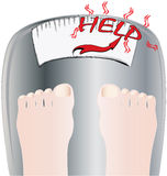 Feet on a bathroom scale Stock Photo