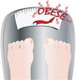 Feet on a bathroom scale. Illustration of feet on a bathroom scale with the word obese on the screen royalty free illustration