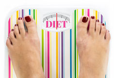 Feet on bathroom scale with word. Diet on dial Royalty Free Stock Photography