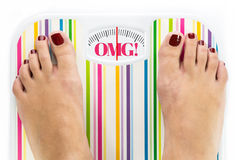 Feet on bathroom scale. With word OMG on dial Royalty Free Stock Photo
