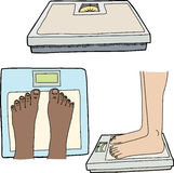 Feet and Bathroom Scales Royalty Free Stock Photos