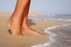 Feet on Beach Stock Photo