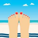 Feet Beach. Close up illustration of female feet on beach Royalty Free Stock Photography