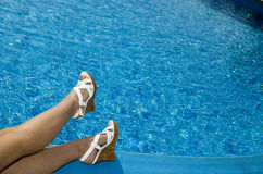 Feet in beach sandal Stock Images