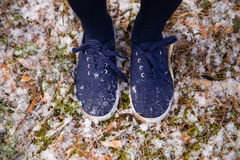 Feet in blue sneakers standing on ground in forest. First snow in the park. Royalty Free Stock Photo