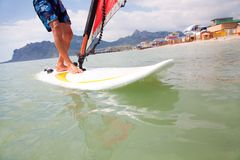 Feet on the board of windsurfing Royalty Free Stock Images