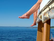 Feet on the boat Royalty Free Stock Photography