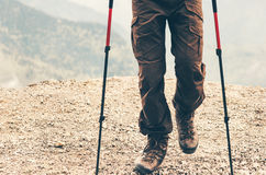 Feet boots traveler hiking at mountains. Travel Lifestyle adventure summer vacations outdoor concept Royalty Free Stock Photography