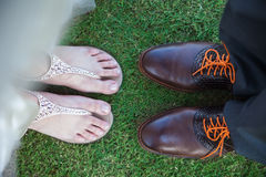 Feet of bride and groom Stock Photos
