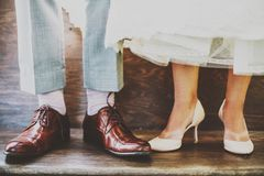 Feet of bride and groom Stock Photo