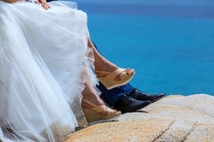 Feet of bride and groom Royalty Free Stock Image