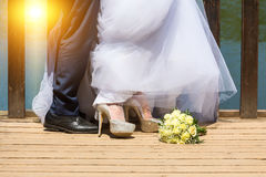 Feet of bride and groom Stock Photography
