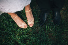 Feet of bride and groom Royalty Free Stock Photos