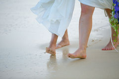 The feet of the bride and the groom Royalty Free Stock Images
