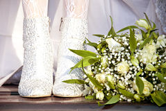 Feet of bride Royalty Free Stock Photography