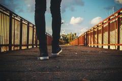 Feet on bridge royalty free stock images