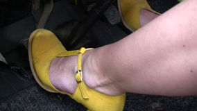 Feet on Car Pedals stock video footage