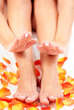 Feet care in bed Stock Photo