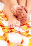 Feet care in bed Stock Photography