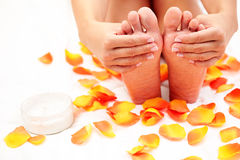 Feet care in bed Stock Images