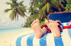 Feet of child relaxed and enjoying summer beach Royalty Free Stock Photos