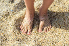 Feet of a child in the sand Stock Image