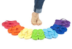Feet and Colorful Flip Flops Isolated on White. Woman's feet and flip flops in rainbow of colors isolated on white royalty free stock images